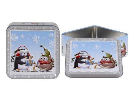 Altom Plechová dóza s víkem X-Mas penguin and owl, 15 x 15 x 6 cm