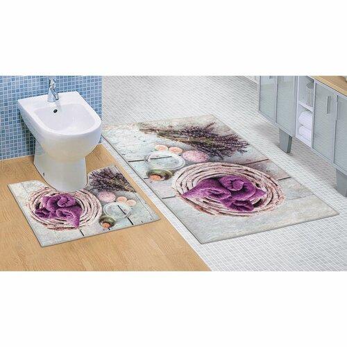 Bellatex Sada kúpeľňových predložiek Levanduľa 3D, 60 x 100 cm, 60 x 50 cm