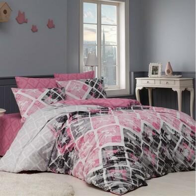 BedTex Pościel bawełniana Riwiera różowy, 140 x 200 cm, 70 x 90 cm