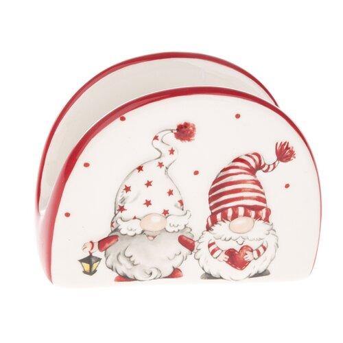 Vánoční keramický stojan na ubrousky Skřítci