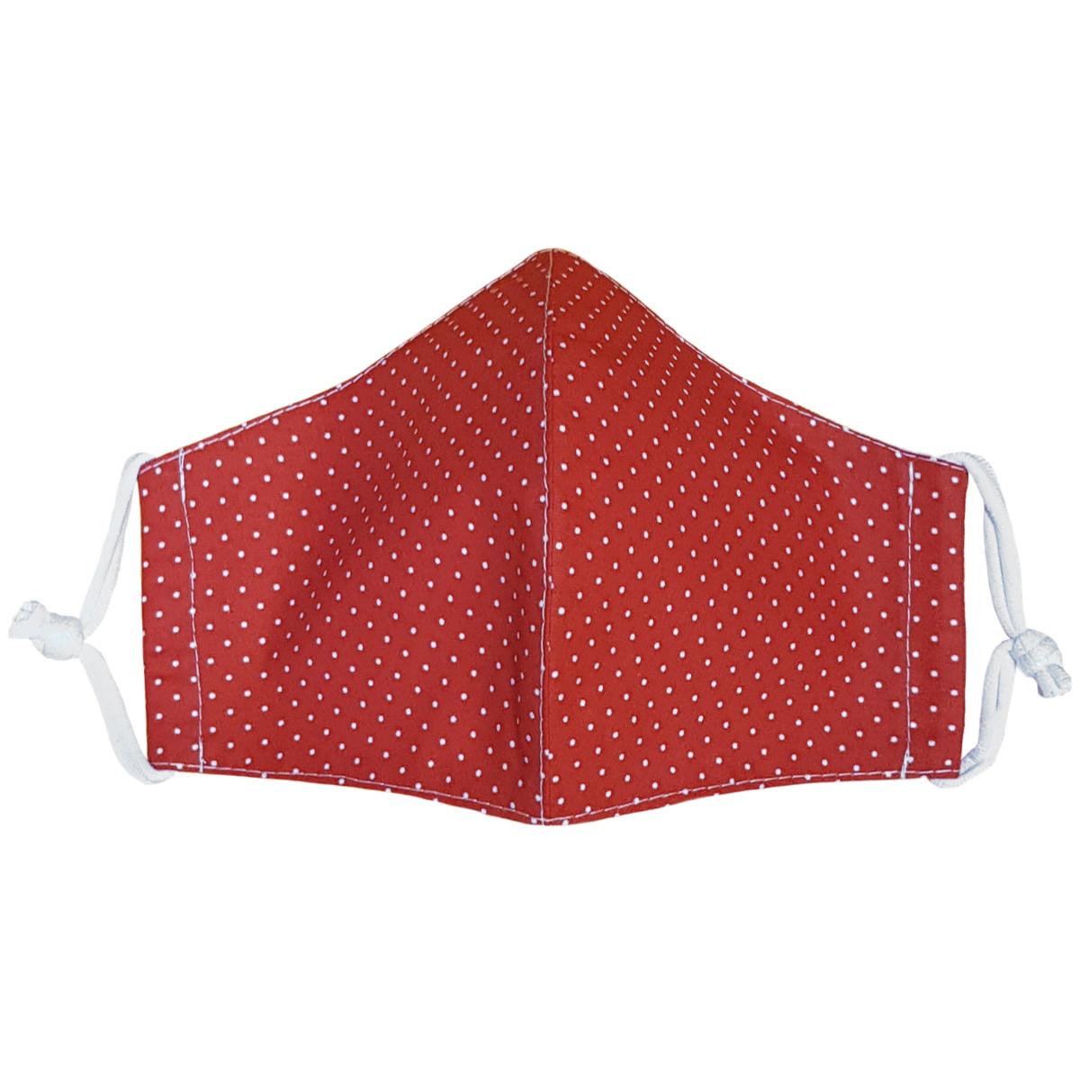 Ústní bavlněná rouška Puntík mini červená - děti 3 - 6 let, XS (3 - 6 let)