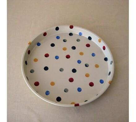 Kovový podnos s puntíky 30 cm, vícebarevná, pr. 30 cm
