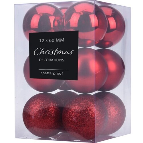 Sada vánočních ozdob Agira 12 ks, červená, pr. 6 cm