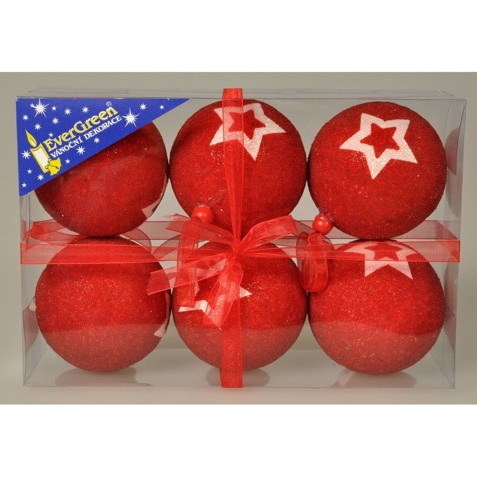 Vánoční koule Stella červená, pr. 7 cm