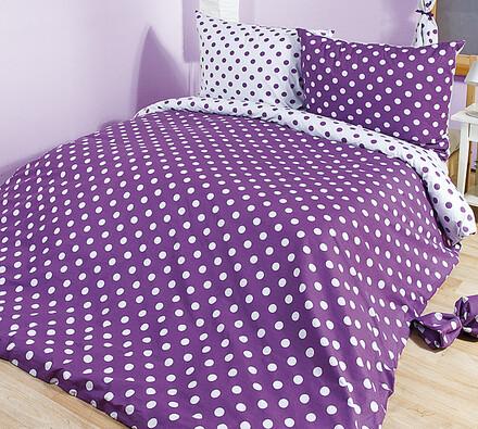 Bavlněné povlečení Puntík, fialová, 140 x 220 cm, 70 x 90 cm