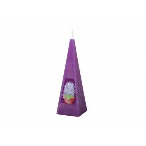 Vyřezávaná svíčka Levandule, jehlan