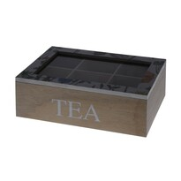 Koopman Box na čajové sáčky Květina, černá
