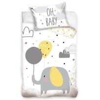 Lenjerie de pat din bumbac, pentru copii,Elefant și baloane, 100 x 135 cm, 40 x 60 cm