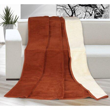Kira XXL pléd / ágytakaró terrakota/bézs színű, 200 x 230 cm