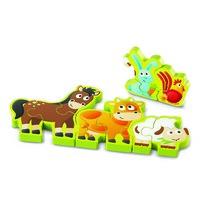 Hape Puzzle obustronne Zwierzątka i cyfry 10 elementów, 34,2 x 1,2 x 13 cm