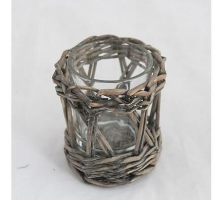 Proutěný svícen nízký přírodní, přírodní, 7,5 x 8 cm