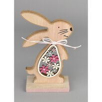 Veľkonočný drevený zajačik Hubert ružová, 15 cm