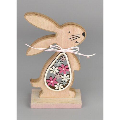 Velikonoční dřevěný zajíček Hubert růžová, 15 cm