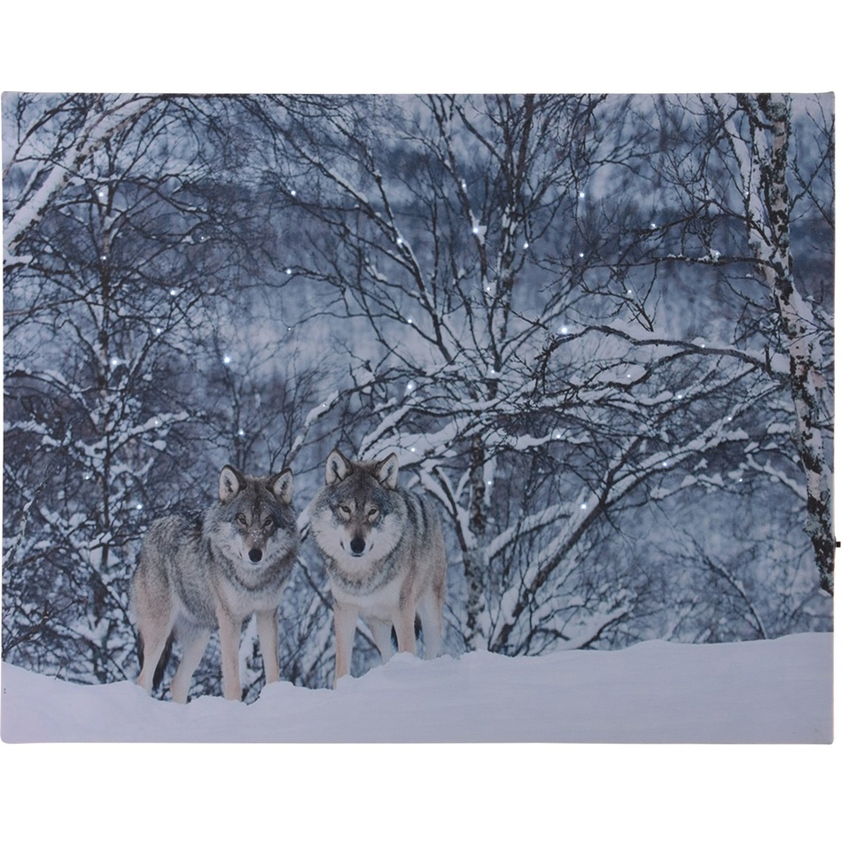 LED Obraz na plátně Wolves in winter, 40 x 30 cm
