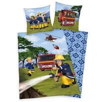 Lenjerie de pat copii, din bumbac, Pompierul Sam în acțiune, 140 x 200 cm, 70 x 90 cm
