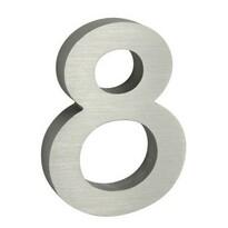 Număr aluminiu de casă 8, suprafață șlefuită 3D