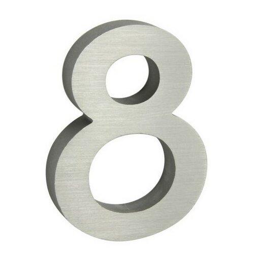 Alumínium házszám, 8, 3D, köszörült felület