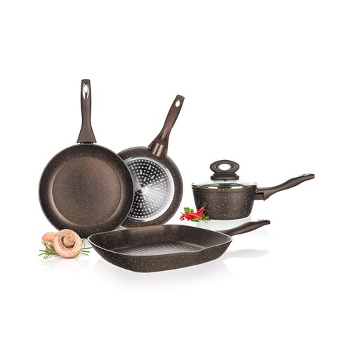 BanquetKastról s nepriľnavým povrchom Premium Dark Brown 24 cm, s pokrievkou