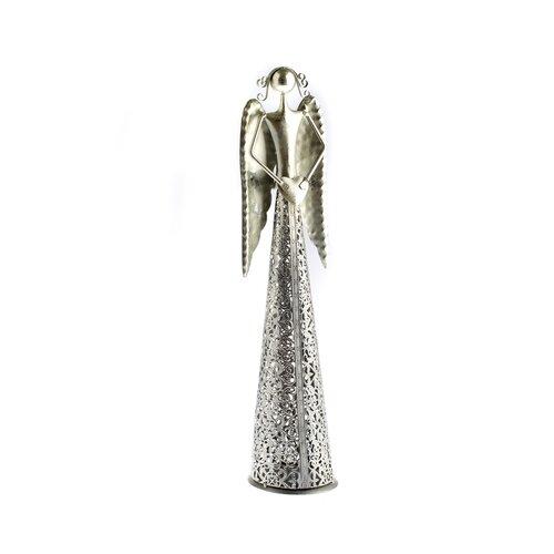 Angyal karácsonyi gyertyatartó szívvel, ezüst, , 49 cm