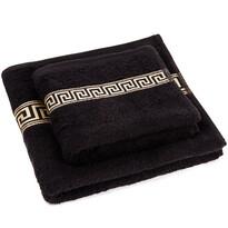 Greek törölköző és kéztörlő szett, fekete, 50 x 90 cm, 70 x 130 cm