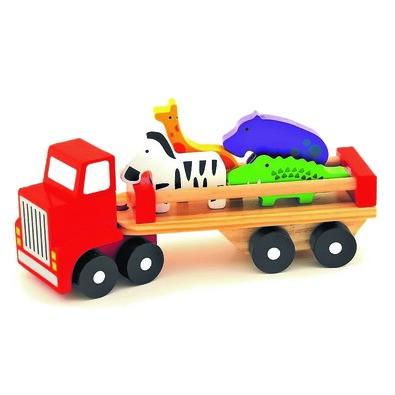Trefl Dřevěné nákladní auto se zvířátky Safari, 26,5 cm