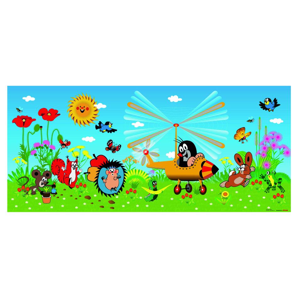 Tapeta fotograficzna dziecięca Krecik i samolot, 202 x 90 cm