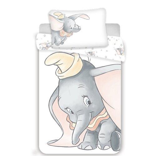 Dětské bavlněné povlečení do postýlky Dumbo grey baby, 100 x 135 cm, 40 x 60 cm