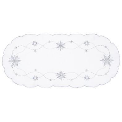 Vánoční ubrus Vánoční hvězda bílá, 40 x 90 cm