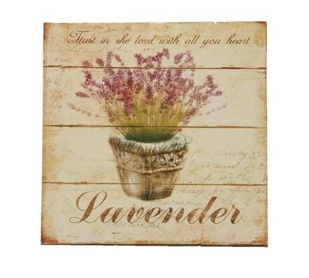 Drevený obrázok, Levanduľa v košíku, viacfarebná, 20 x 20 cm