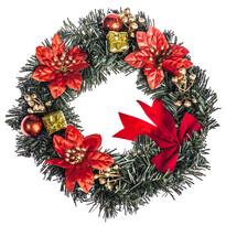 Vianočný veniec s poinsettiou 25 cm, červená