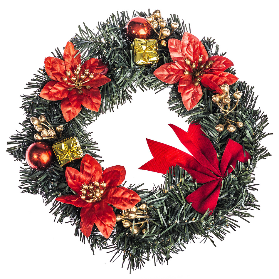 HTH Zdobený vánoční věnec pr. 25 cm červená