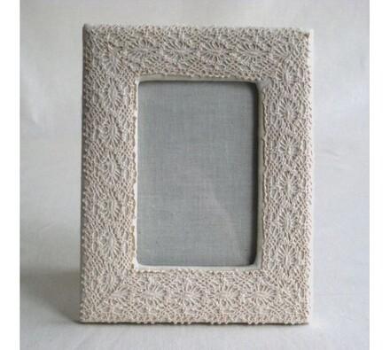 Krajkový fotorámeček, bílá, 19 x 15 cm