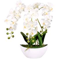Orchidea sztuczna w doniczce biały, 21 kwiatów, 60 cm