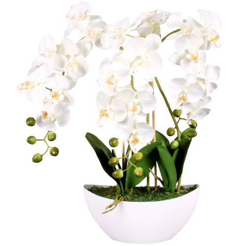 Mű orchidea virágtartóban, fehér, 21 virágos, 60 cm