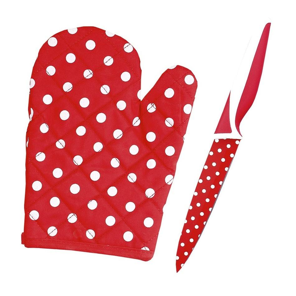 Nôž s teflónovým povrchom, chňapka zadarmo červená