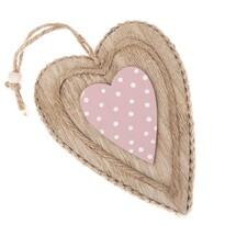 Drewniana dekoracja do zawieszenia Różowe serce, 7,5 x 9,5 cm