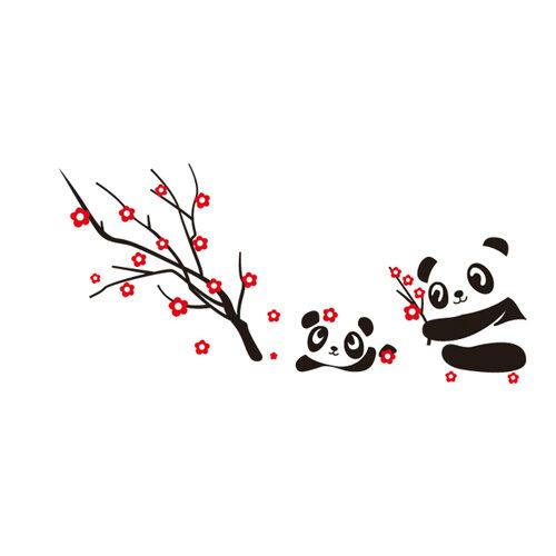 Samolepiaca dekorácia zamilovaná panda,