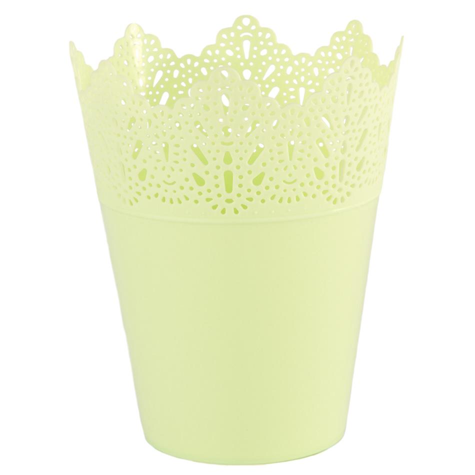 Plastový obal na květináč Krajka 15 cm, zelená