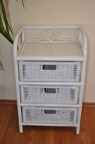 Ratanová komoda 3 zásuvky bílá