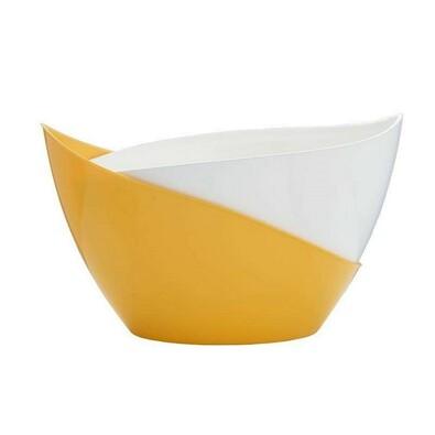 Samozavlažovací květináč Doppio, bílá + žlutá