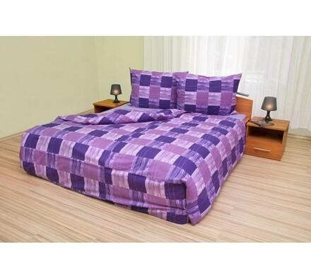 Bavlněné povlečení Čtverce fialová, 220 x 200 cm, 2x 70 x 90 cm