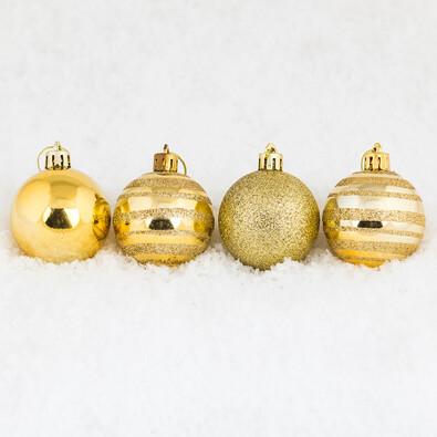 Vánoční koule 7 ks, zlatá