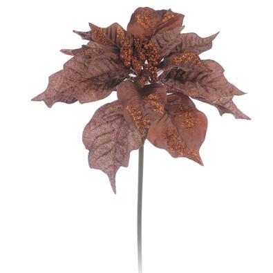 Umělá květina poinsettia měděná 3 ks