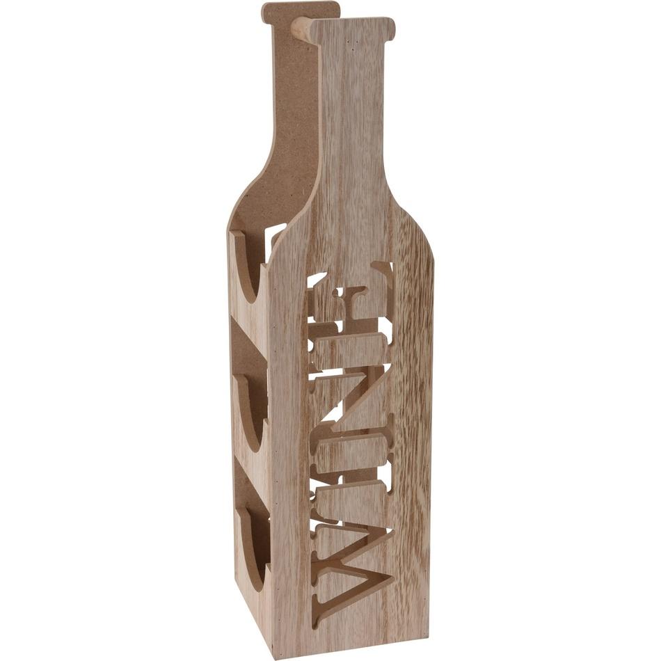 Koopman Dřevěný stojan na 3 láhve vína