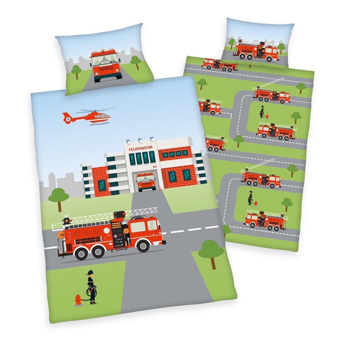 Herding Detské bavlnené obliečky do postieľky Feuerwehr, 100 x 135 cm, 40 x 60 cm