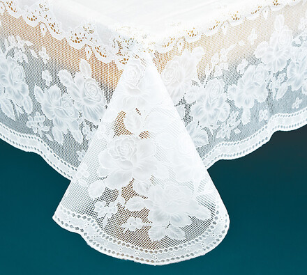 PVC ubrus na stůl s imitací krajky, 135 x 135 cm