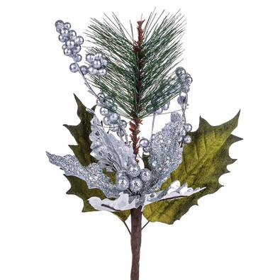 Sztuczny kwiat Poinsecji z kuleczkami, srebrny
