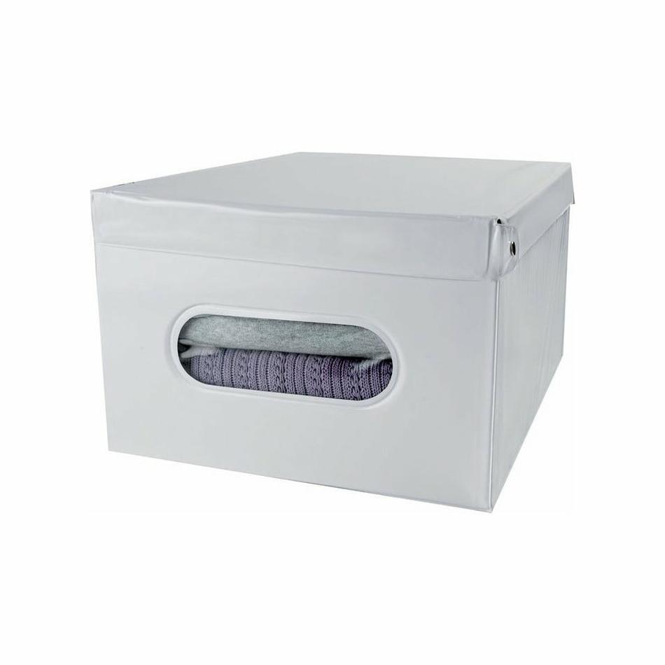 Compactor Skládací úložná krabice s víkem SMART, bílá