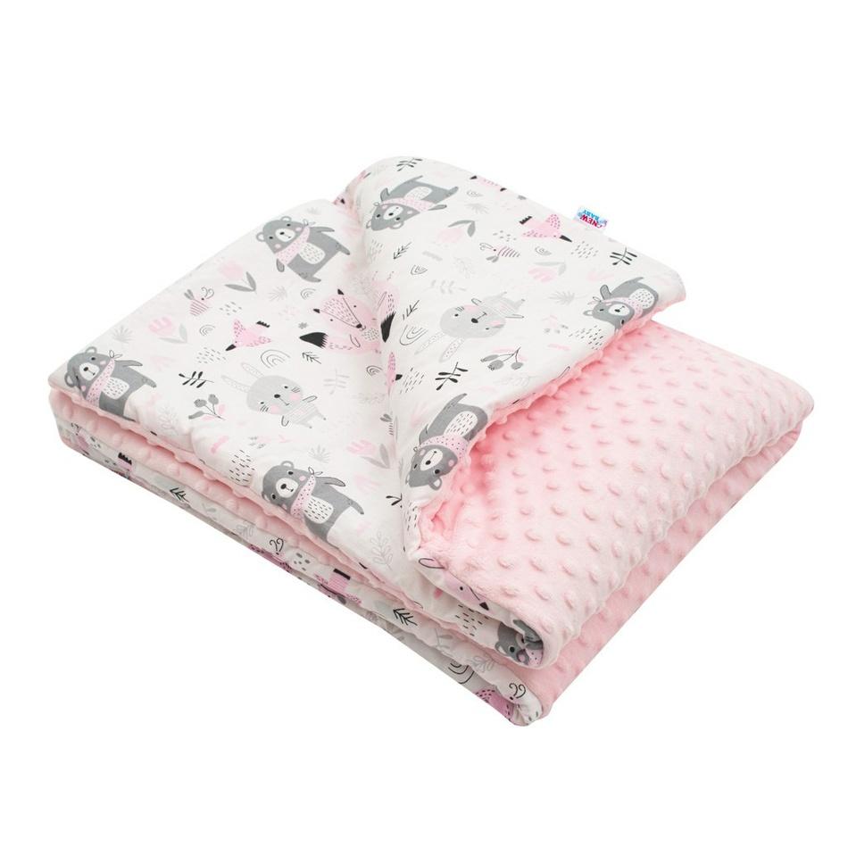 New Baby Detská deka z Minky Medvedíci ružová , 80 x 102 cm