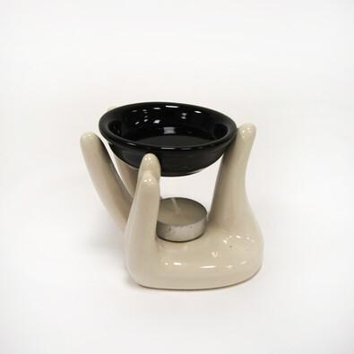 Aromalampa ruka, bílá, bílá + černá